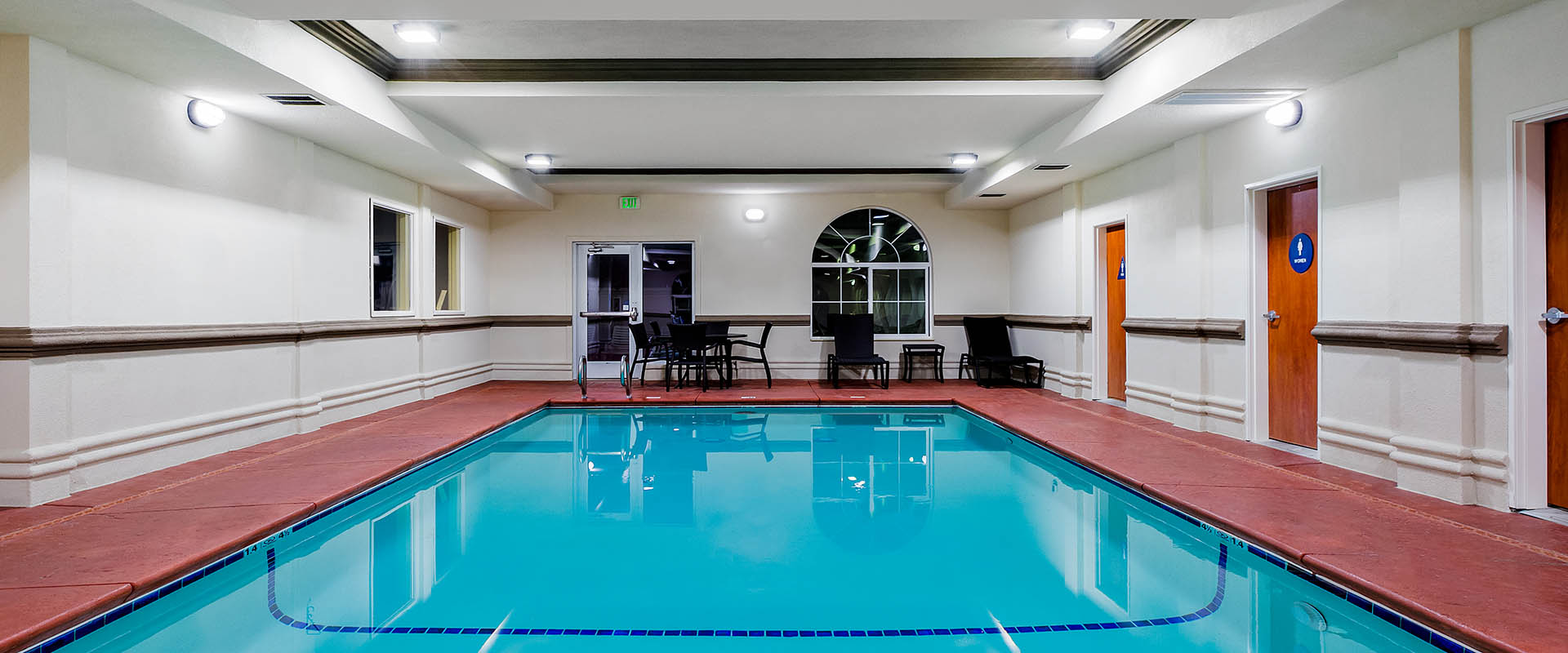 No matter the weather outside, our hotel guests enjoy our indoor pool & whirlpool spa.